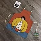 卡通棉麻圍裙女防水防污罩衣家務工作服【步行者戶外生活館】