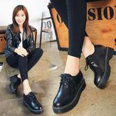 單鞋英倫風復古原宿小皮鞋學生平底百搭韓版女鞋 免運