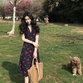 連身裙夏季新款櫻桃仙女bf長裙溫柔風海邊度假沙灘裙V領雪紡連身裙 coco衣巷