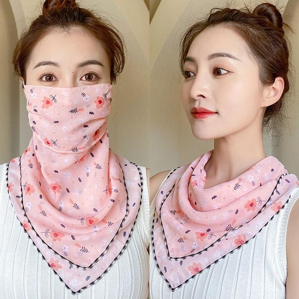 圍巾防曬面紗雪紡護臉遮臉面部罩絲巾女兩用夏薄款掛耳圍脖套護頸【母親節禮物】
