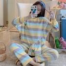 睡衣套裝 睡衣女冬季加厚法蘭絨可愛甜美大碼學生加絨保暖珊瑚絨套裝家居服 維多原創
