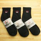 MOVIN 運動彈力厚底休閒短襪-3雙組--黑色-單色--502B