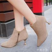 短靴女秋季靴子百搭時尚高跟鞋踝靴細跟女鞋馬丁靴潮 芊惠衣屋