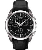TISSOT 天梭 Couturier 建構師系列GMT計時手錶-黑/皮帶 T0354391605100