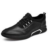 秋季純黑皮鞋45加大號男鞋韓版潮流男士休閒鞋46特大碼男鞋子潮鞋