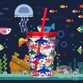 塔那那創意塑料吸管杯兒童水杯帶蓋防漏便攜     SQ9840『毛菇小象』