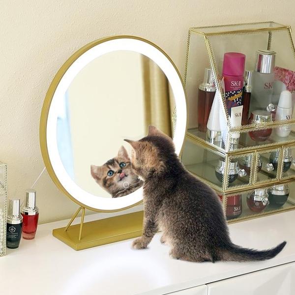 化妝鏡 臺式led燈補光梳妝鏡桌面大號網紅鏡子美妝鏡帶燈ins發光 莎瓦迪卡