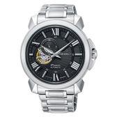 SEIKO Premier  廣告新款羅馬鏤空設計機械時尚腕錶4R39-00S0D 黑面