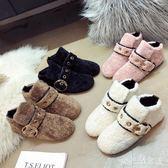 豆豆鞋 秋冬季新款韓版平底加棉豆豆鞋瓢鞋懶人毛毛鞋女棉鞋 df9471【大尺碼女王】