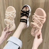 涼鞋女2020新款鬆糕厚底網紅ins潮仙女風百搭兩穿孕婦平底拖鞋夏
