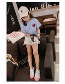 韓版寬鬆百搭刺繡亮片個性半袖上衣t恤