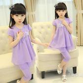 套裝童裝女童棉套裝5中大兒童6小女孩8韓版9套裝11新款夏裝4-13歲
