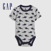 Gap男嬰創意印花圓領短袖包屁衣583576-淺麻灰