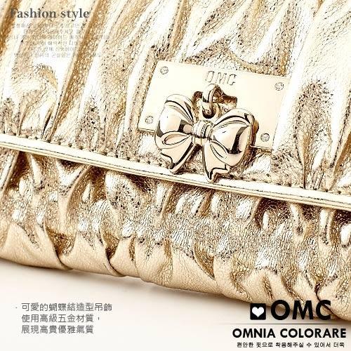 OMC - 貴婦最愛蝴蝶結抓皺多卡夾牛皮長夾 - 質感鐵灰色