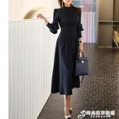 春裝新款韓版氣質立領洋裝燈籠袖名媛女裝簡約知性OL鉛筆裙 時尚