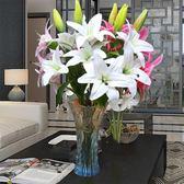 假花百合仿真花束單支客廳室內餐桌裝飾品擺設花藝擺件花瓶插花igo