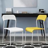 創意學生家用塑料椅子餐椅成人凳子辦公椅現代簡約靠背懶人電腦椅   夢曼森居家