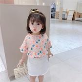 女童短袖t恤夏季2021韓版新款洋氣寶寶網紅花朵上衣純棉兒童體恤