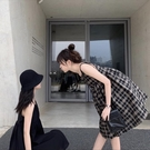 閨蜜裝初戀裙子女夏季2021年新款女裝格子氣質吊帶裙娃娃洋裝女
