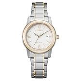 【台南 時代鐘錶 CITIZEN】星辰 FE1226-82A 光動能 羅馬字 日期顯示 鋼錶帶女錶 白/淺金 30mm 對錶