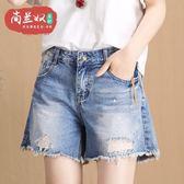 【新年鉅惠】大碼a字牛仔單寧短褲女高腰寬鬆