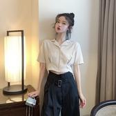 短板上衣 韓版百搭西裝小翻領短袖褶皺襯衫夏季高腰露臍短款