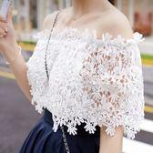 ZUCAS -韓 蕾絲衫甜美簍空一字領短袖上衣性感露肩雪紡衫(GH-594)