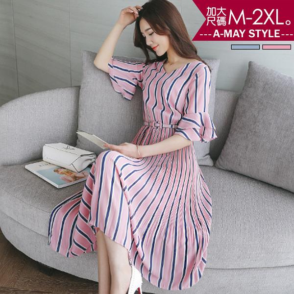 加大碼-質感撞色條紋洋裝(M-2XL)