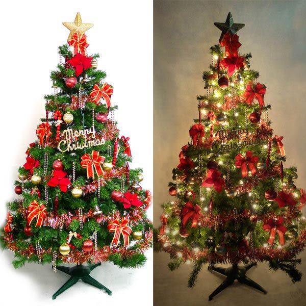 台灣製7呎/ 7尺(210cm)豪華版裝飾綠聖誕樹 (+紅金色系配件組)(+100燈鎢絲樹燈3串) (本島免運費)