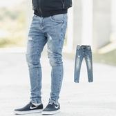 牛仔褲 韓國製微刷色小抓破窄版牛仔褲【NB0403J】