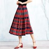 棉麻長裙-休閒簡單格子造型半身女裙子2色73hr37[巴黎精品]