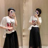(批發價不退換)2321#夏裝新款大碼女裝胖mm顯瘦加大蕾絲半身裙 T恤套裝F-4F088日韓屋