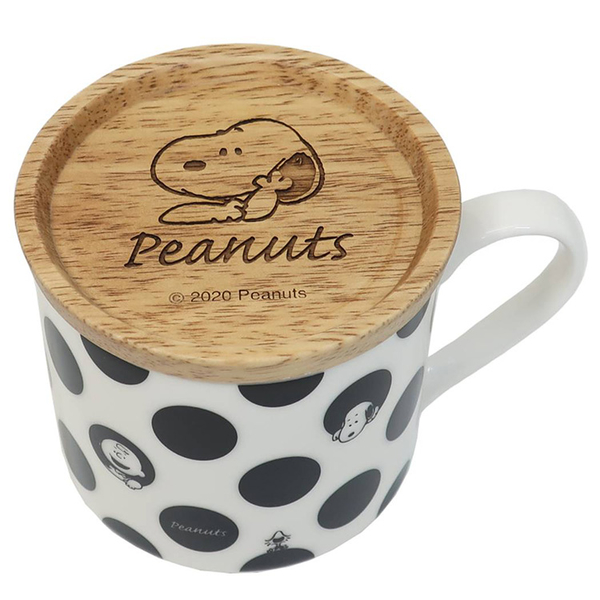Kamio 木紋附蓋兩用馬克杯 禮盒裝 SNOOPY史努比 圓點_KM29658