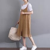 漂亮小媽咪 簡約洋裝 【D3329】 純色 棉麻 細肩 吊帶裙 孕婦裝 背心裙
