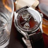 HAMILTON 漢米爾頓 JAZZMASTER 經典鏤空黑皮革機械腕錶/咖啡 H32565595 熱賣中!