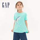 Gap女童棉質舒適圓領短袖T恤546074-冰藍色