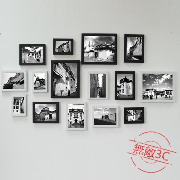 客廳懸掛15框照片墻相框墻組合臥室復古創意免釘安裝創意相片掛墻限時兩天下殺89折