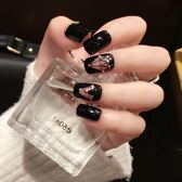 (交換禮物)黑色風 鉚丁光療甲  方頭假指甲 成品 美甲 貼片 可穿戴指尖魔盒