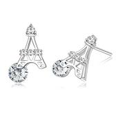 耳環 925純銀鑲鑽銀飾-巴黎鐵塔生日情人節禮物女飾品73dy137【時尚巴黎】