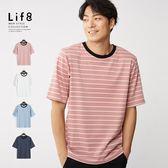Life8-Casual 微彈棉 條紋五分袖TEE 【10197】