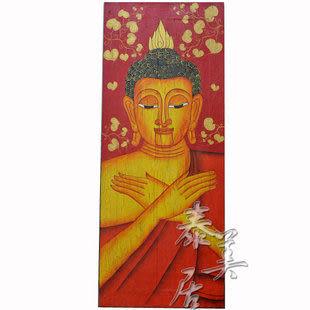 工藝品 木雕畫 泰式裝飾畫 彩繪菩提佛像