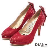 DIANA 漫步雲端LADY系列--水鑽蝴蝶結亮面星鑽跟鞋-紅★特價商品恕不能換貨★