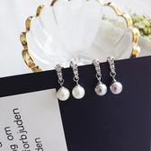 小清新甜美氣質 珍珠短款耳墜女士日系鑲鑽耳環耳飾~ADE089 ~