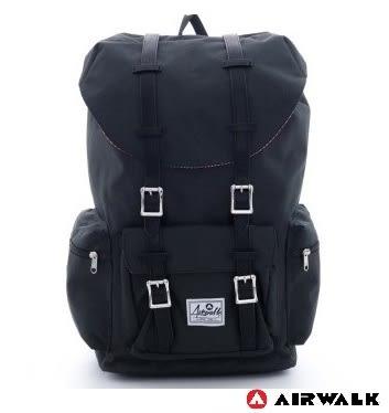 Backbager 背包族【美國 AIRWALK】摩登學院風 抽繩束口袋 筆電後背包(大) - 黑