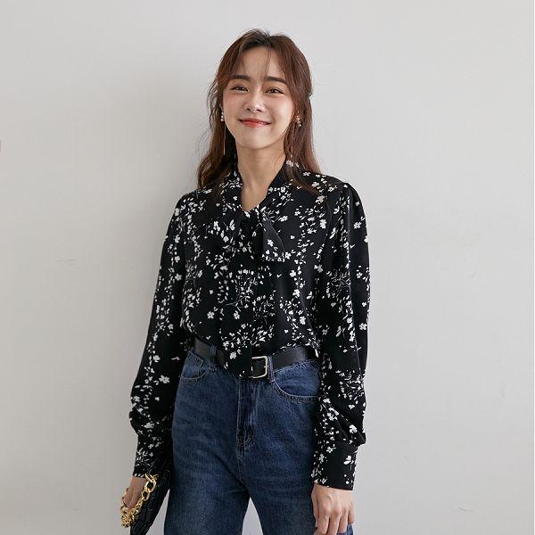 MIUSTAR 領綁帶包布排釦印花雪紡上衣(共2色)【NH2585】預購