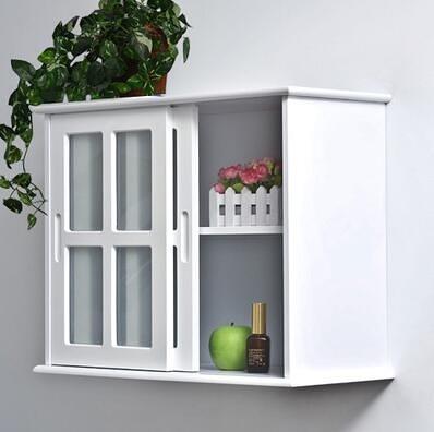 廚房牆上移門吊櫃牆壁櫃牆櫃儲物置物收納櫃田園浴室防水【移門壁櫃磨砂SH006】