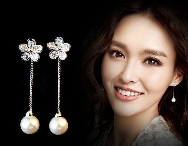 預購 - 925銀針-鋯石花朵珍珠垂墜耳針