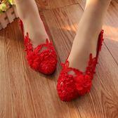 婚鞋 白色低跟伴娘鞋大紅色平底中跟演出鞋軟底搭配婚紗鞋