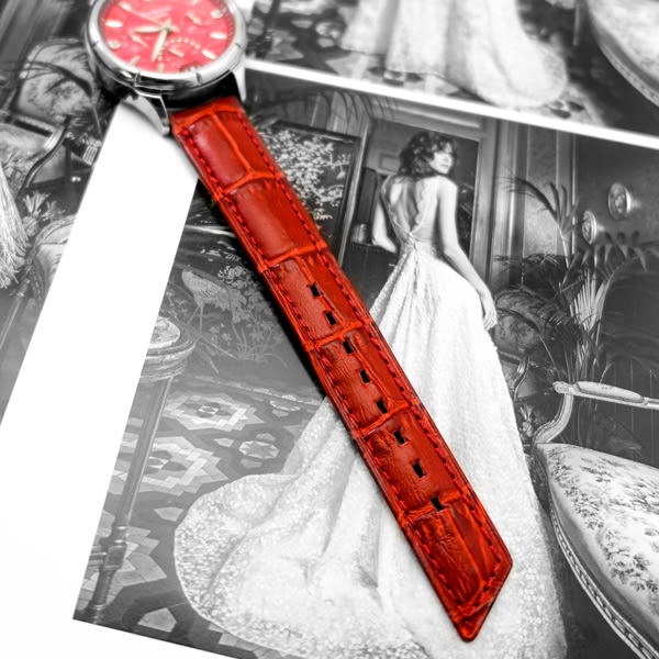 【台南 時代鐘錶 海奕施 HIRSCH】小牛皮錶帶 Princess M 黑色 附工具 02628150 鱷魚皮壓紋