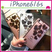 Apple iPhone6/6s 4.7吋 Plus 5.5吋 電鍍邊愛心手機殼 立體心心保護套 透明手機套 鏤空保護殼 軟殼